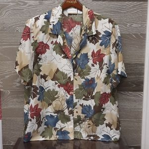 Alfred Dunner autumn leaves berries plus size top